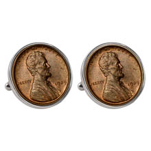 1909 First-Year-of-Issue Lincoln Penny Silvertone Bezel Cuff Links