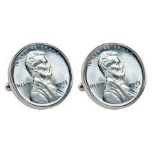 1943 Lincoln Steel Penny Silvertone Bezel Cuff Links