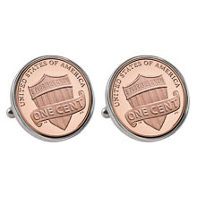 Lincoln Union Shield Penny Silvertone Bezel Cuff Links