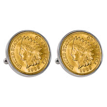 Gold-Layered Indian Penny Silvertone Bezel Cuff Links