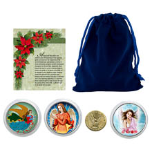 Christmas Angel Coins in Blue Pouch