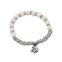 White Fresh Water Pearl Bead Elephant Charm Stretch Bracelet