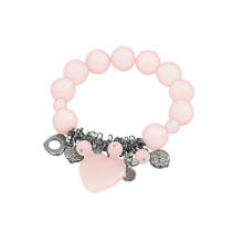Rose Quartz Heart Charm Stretch Bracelet