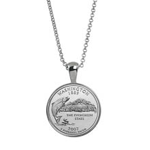 Statehood Quarter Silver Tone Coin Pendant