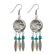 Sterling Silver Buffalo Nickel Feather Coin Earrings With Turquoise Beads
