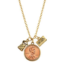 Wishing Well Penny Charm Gold Tone Necklace