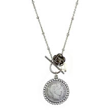 Silver Barber Dime and Rose Silvertone Toggle Pendant