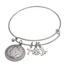 Western Charm Silver Tone Liberty Nickel Coin Bangle Bracelet