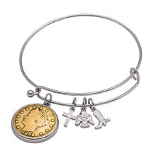 Western Charm Silver Tone Gold Layered Liberty Nickel Coin Bangle Bracelet