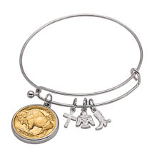 Western Charm Silver Tone Gold Layered Buffalo Nickel Reverse Coin Bangle Bracelet