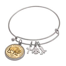 Western Charm Silver Tone Gold Layered Bison Nickel Coin Bangle Bracelet