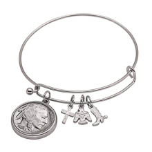 Western Charm Silver Tone Buffalo Nickel Obverse Coin Bangle Bracelet