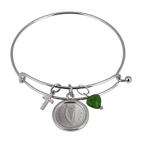 Irish Three Pence Cross and Heart Silver Tone Coin Bangle Bracelet