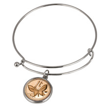 Butterfly Coin Silver Tone Bangle Bracelet