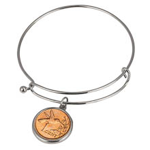 Hummingbird Coin Silver Tone Bangle Bracelet