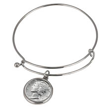 Silver Mercury Dime Silver Tone Coin Bangle Bracelet