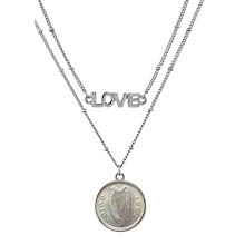 Irish Three Pence Harp Coin Double Strand Love Necklace