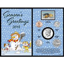 2018 Snowman Greeting Coin and Stamp Card