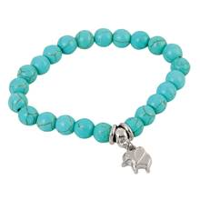 Elephant and Beaded Stretch Bracelet