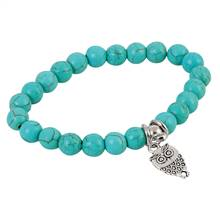 Owl and Beaded Stretch Bracelet