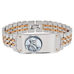 Men's Two-Tone Stainless Steel Bracelet with Lincoln Steel Penny Coin