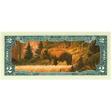 Two Dollar Bison Colorized Bill
