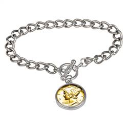 24KT Gold Plated Silver Mercury Dime Silvertone Coin Toggle Bracelet