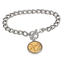 24KT Gold Plated Hummingbird Coin Silvertone Toggle Bracelet