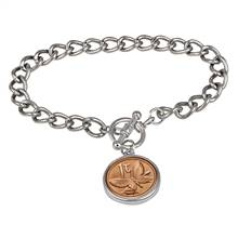 Butterfly Coin Silvertone Toggle Bracelet