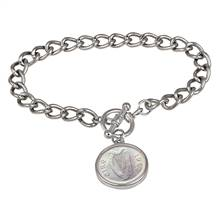 Irish Threepence Coin Silvertone Toggle Bracelet