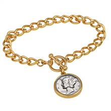 Silver Mercury Dime Goldtone Coin Toggle Bracelet