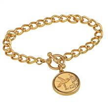 24KT Gold Plated Hummingbird Coin Goldtone Toggle Bracelet