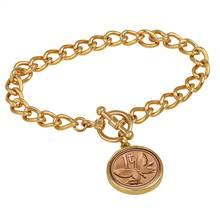 Butterfly Coin Goldtone Toggle Bracelet