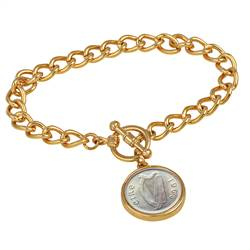 Irish Threepence Coin Goldtone Toggle Bracelet