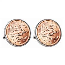 Greek 2 Euro Coin Cufflinks