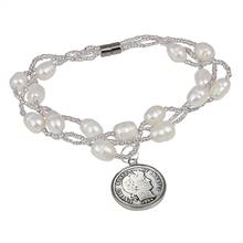 Silver Barber Dime Freshwater Pearl Magnetic Closure Coin Bracelet