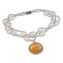 Hummingbird One Cent Freshwater Pearl Magnetic Closure Coin Bracelet