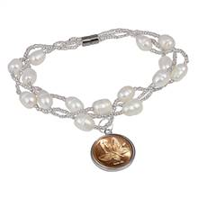 Butterfly Coin Freshwater Pearl Magnetic Closure Bracelet