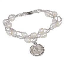 Irish Three Pence Freshwater Pearl Magnetic Closure Coin Bracelet