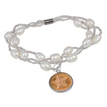 Starfish One Cent Freshwater Pearl Magnetic Closure Coin Bracelet