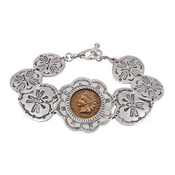 Indian Penny Western Toggle Silvertone Coin Bracelet