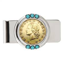 Italian Republic Coin Turquoise Beaded Money Clip