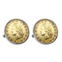Italian Republic Coin Silvertone Bezel Cuff Links