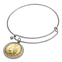 Italian Republic Coin Silvertone Bangle Bracelet