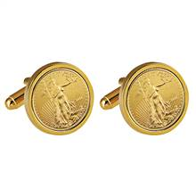St Gaudens Design Gold Layered Replica American Eagle Coin Goldtone Cufflinks