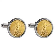 St Gaudens Design Gold Layered Replica American Eagle Coin Silvertone Cufflinks