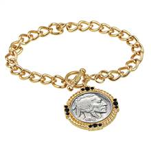 Buffalo Nickel Goldtone Toggle Bracelet
