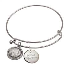 Barber Dime Slide Bracelet With I Love You Mom Charm