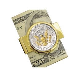 Selectively Gold-Layered Presidential Seal JFK Half Dollar Goldtone Money Clip