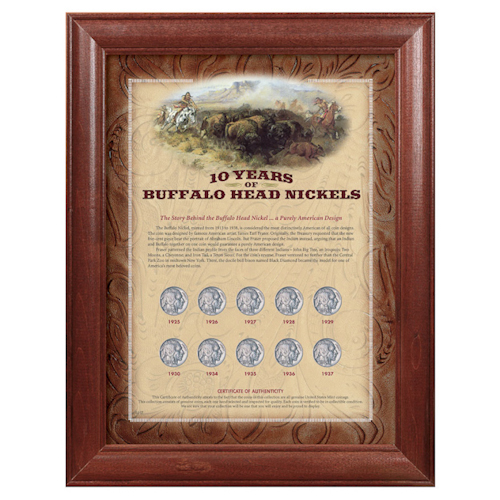 cbf9f2f468b0 10 Years of Buffalo Nickels - Wood Frame